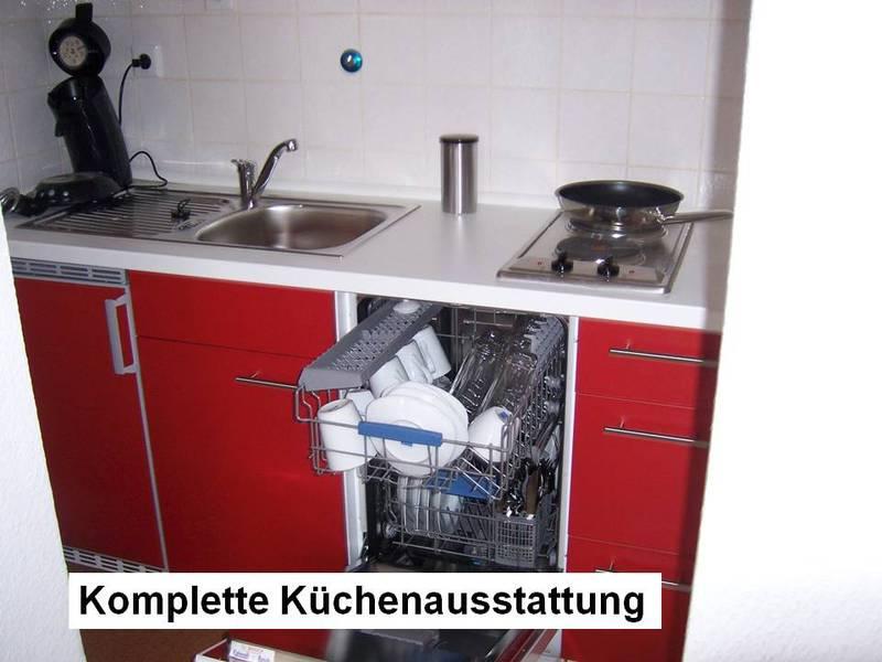 Die Küchenausstattung jeder FeWo ist komplett